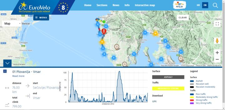 Screenshot of Croation EV8 website 2