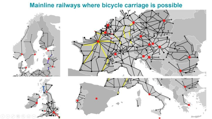 Cyclists love trains - Europe map