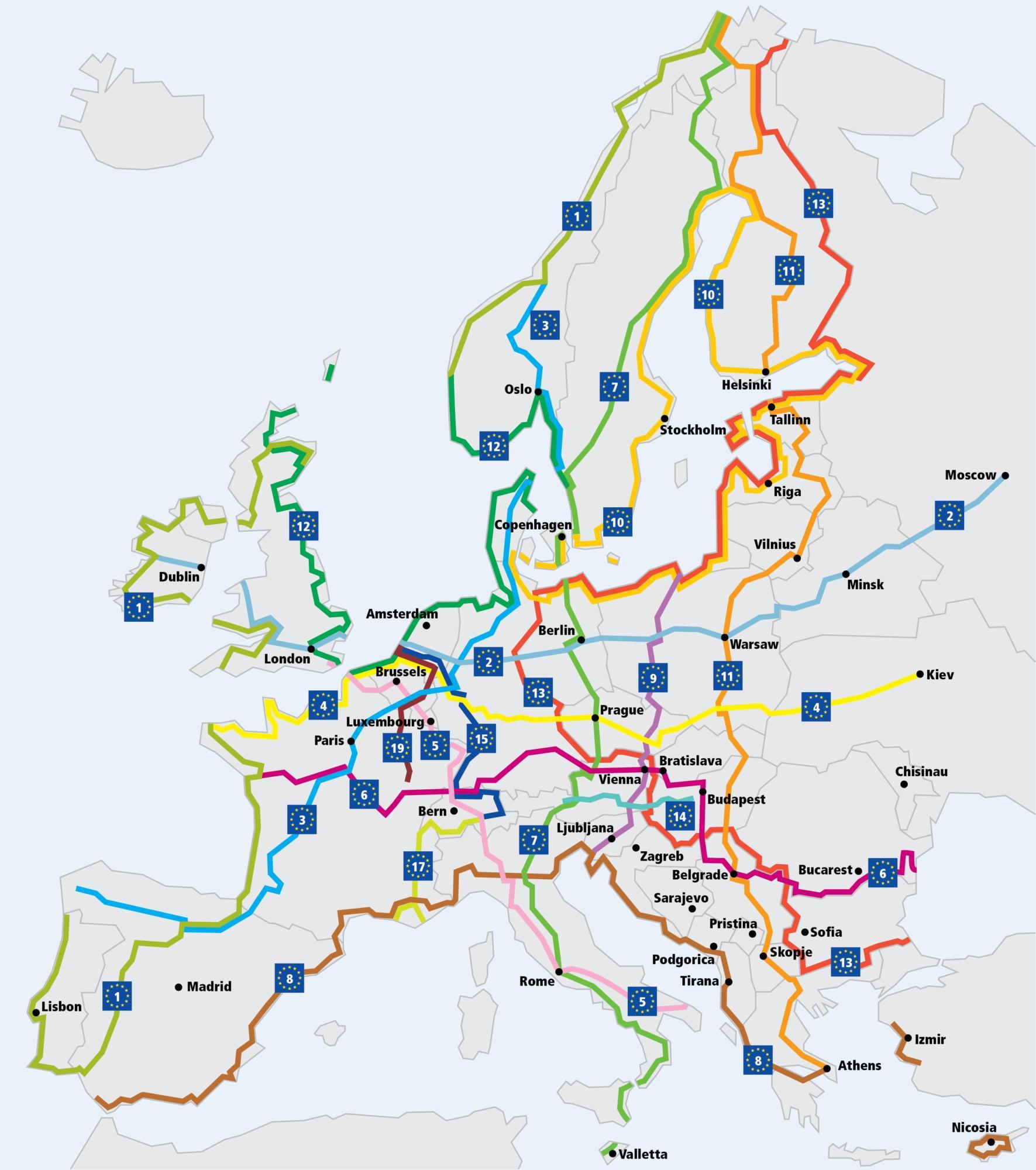 Mappa dei percorsi EuroVelo