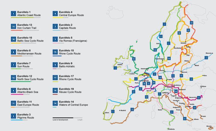 EuroVelo route development network map