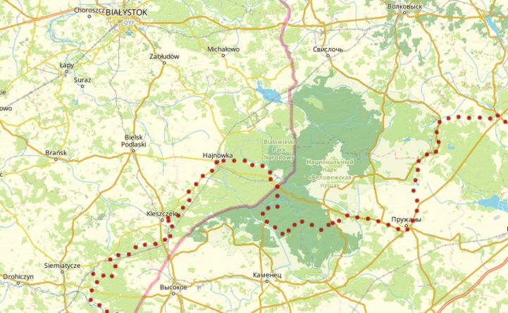 Karte der EuroVelo 2 durch den Białowieża-Wald